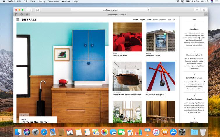 Capture d'écran Safari Mac