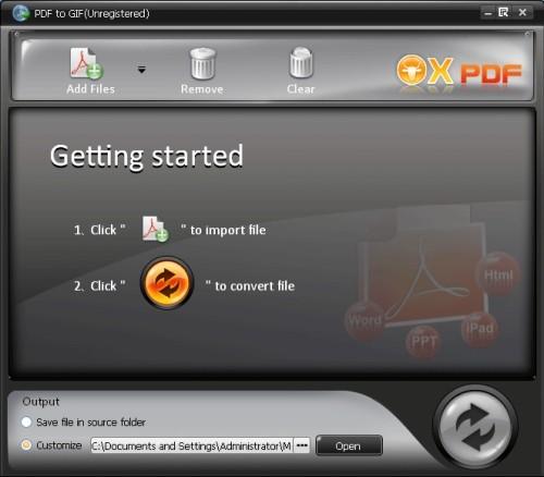 Capture d'écran OX PDF en GIF Convertisseur
