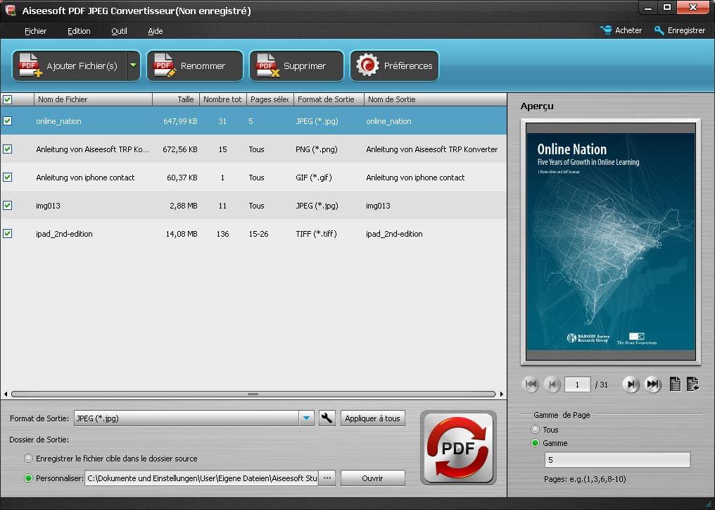 Capture d'écran Aiseesoft PDF JPEG Convertisseur