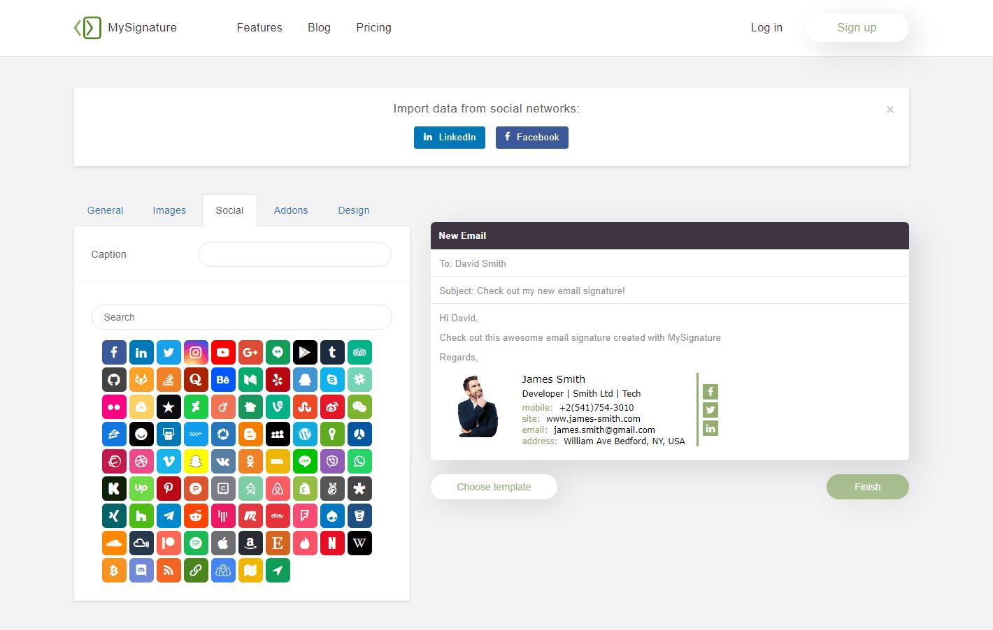 Capture d'écran MySignature