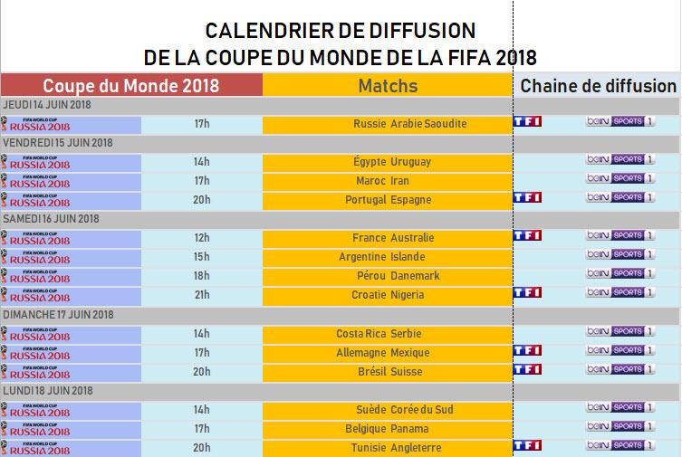 Capture d'écran Calendrier de diffusion de la Coupe du Monde 2018