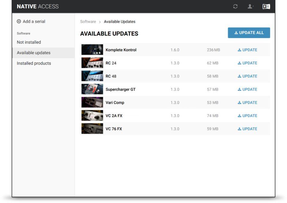 Capture d'écran Native Access
