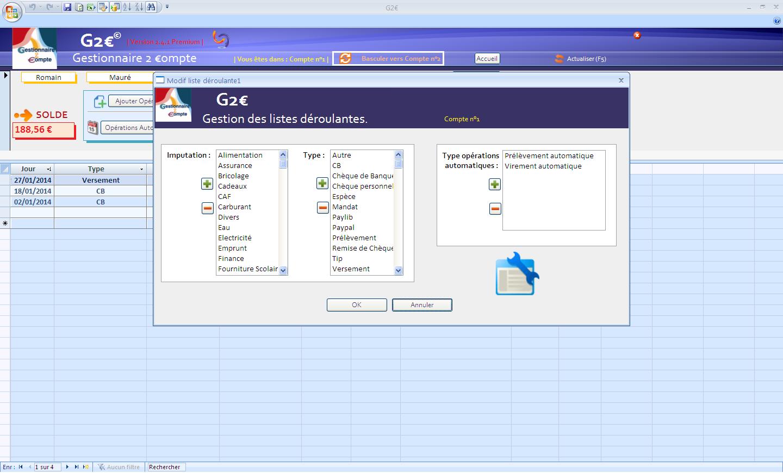 Capture d'écran G2€ 2.2.1 basic