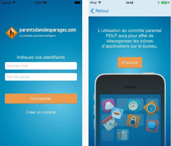 Capture d'écran PDLP Contrôle Parental iOS