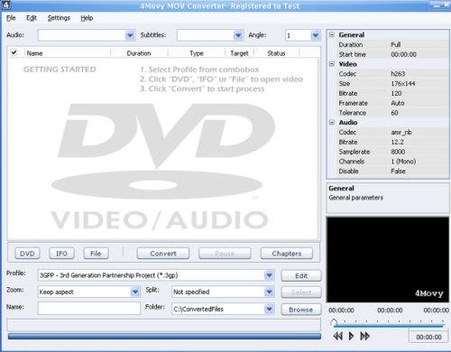 Capture d'écran 4Movy MOV Converter