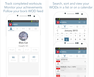 Capture d'écran myWOD iOS