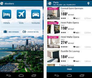 Capture d'écran ebookers iOS