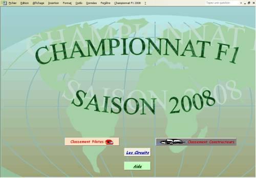 Capture d'écran Championnat F1 2008