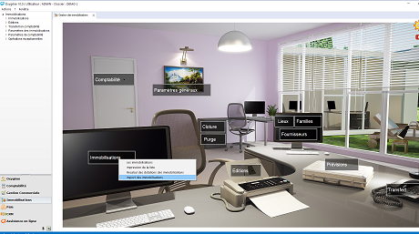Capture d'écran Memsoft Gestion des Immobilisations Oxygène 10
