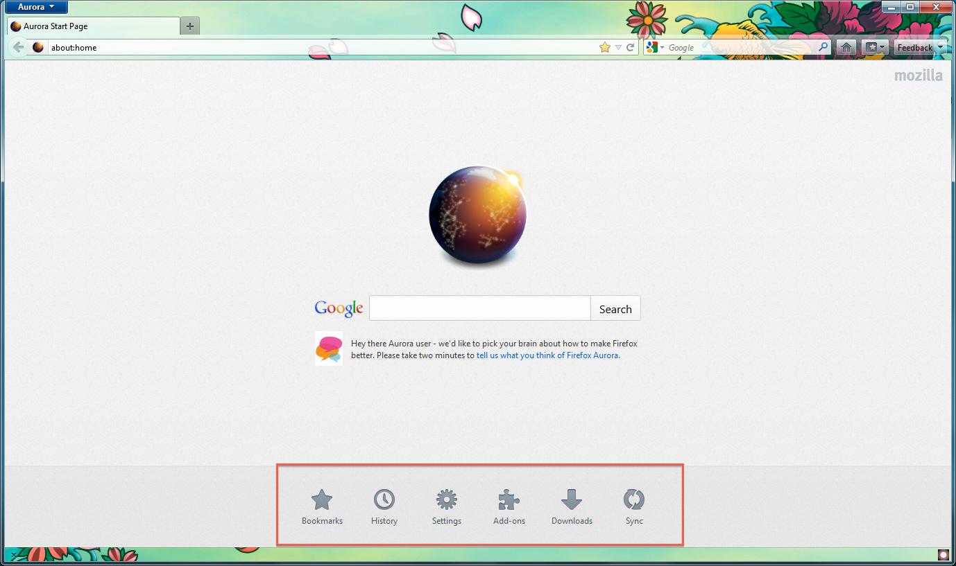 Capture d'écran Firefox Aurora