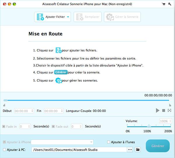 Capture d'écran Aiseesoft Créateur Sonnerie iPhone pour Mac