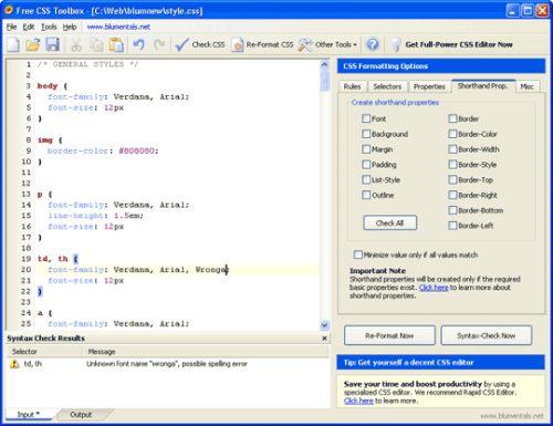 Capture d'écran Free CSS Toolbox