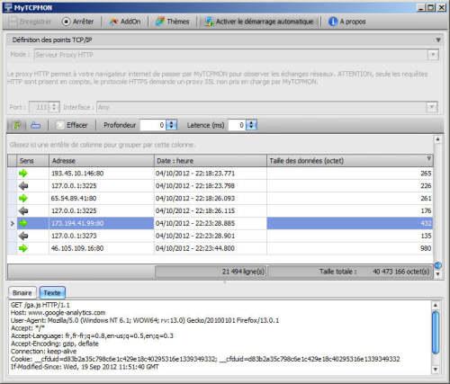 Capture d'écran MyTCPMON