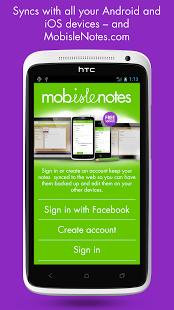 Capture d'écran MobisleNotes – Bloc-notes