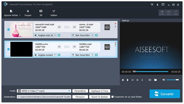 Capture d'écran Aiseesoft Convertisseur 4K