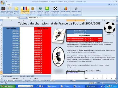 Capture d'écran Foot – Calendrier 2007/2008 Championnat de France