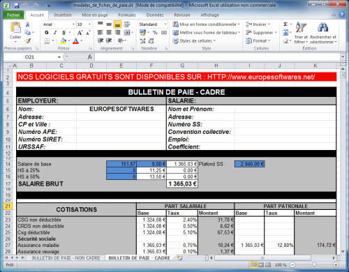 Capture d'écran Modèles de fiches de paie cadre et non cadre