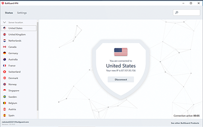 Capture d'écran BullGuard VPN