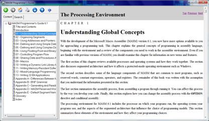 Capture d'écran MASM Programmers Guide