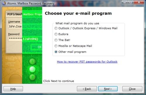 Capture d'écran Atomic Mailbox Password Recovery