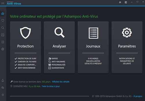 Capture d'écran Ashampoo Anti-virus
