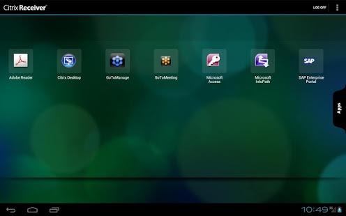 Capture d'écran Citrix Receiver
