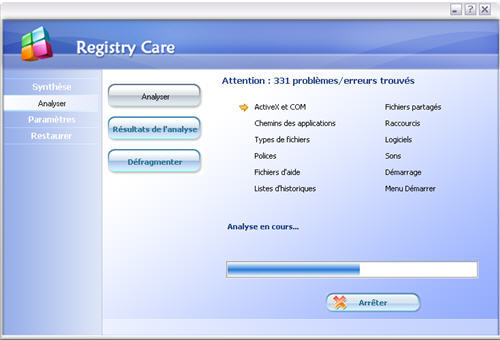 Capture d'écran Registry Care