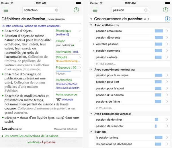 Capture d'écran Antidote Mobile iOS