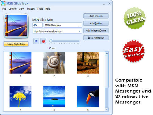 Capture d'écran MSN Slide Max