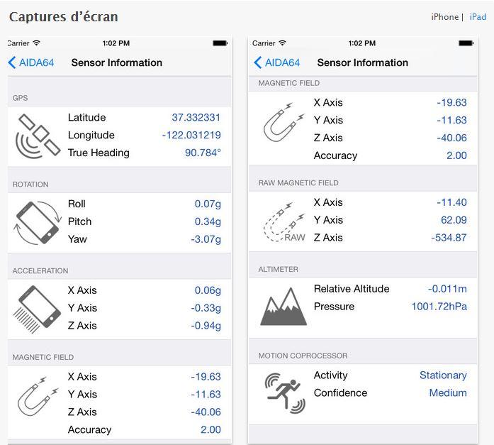 Capture d'écran AIDA64 iOS