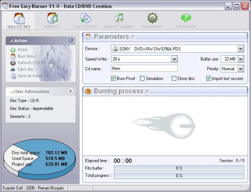 Capture d'écran Free Easy CD DVD Burner