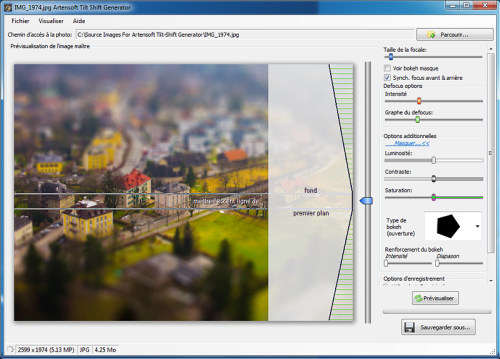 Capture d'écran Artensoft Tilt Shift Generator