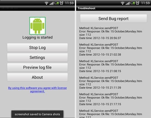 Capture d'écran KidLogger Android