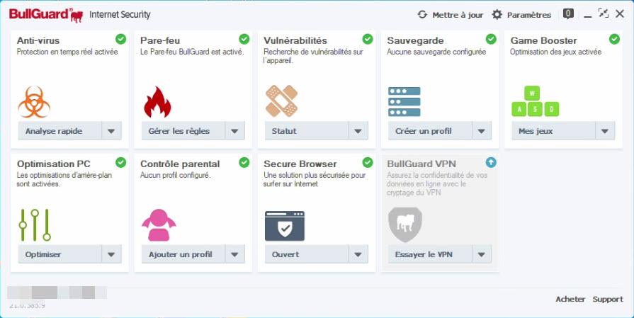 Capture d'écran BullGuard Internet Security