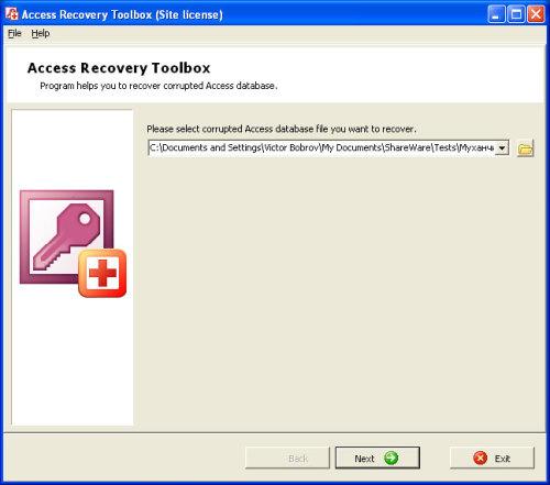 Capture d'écran Access Recovery Toolbox