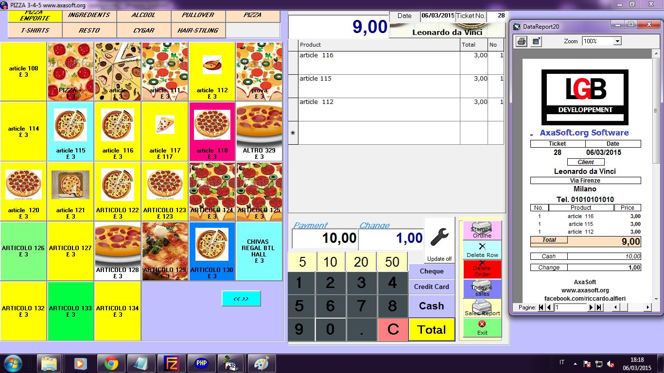 Capture d'écran POS 3-4-5 Logiciel de Caisse Ver 2.0