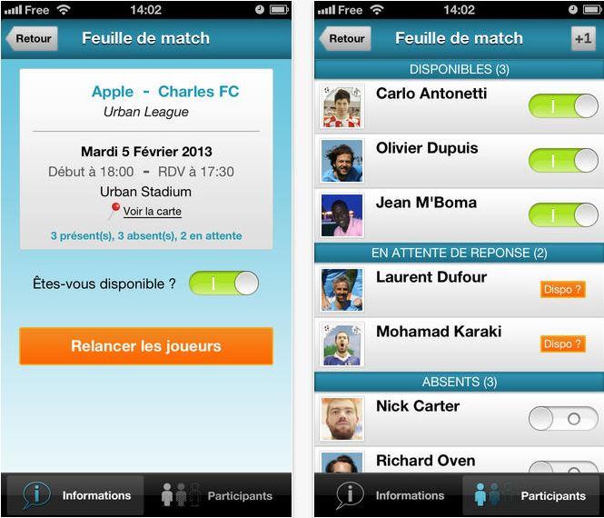 Capture d'écran SportEasy iOS