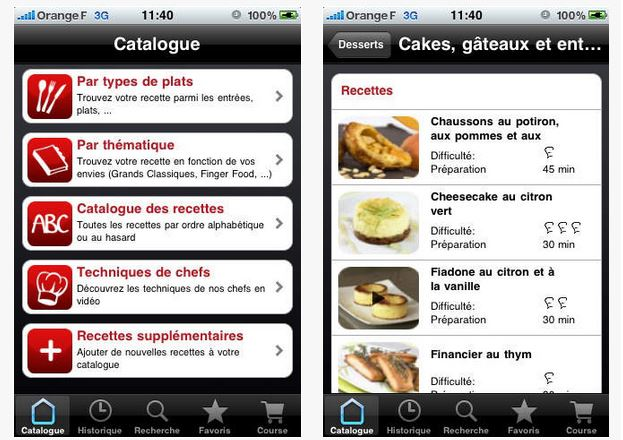 Capture d'écran iChef iOS