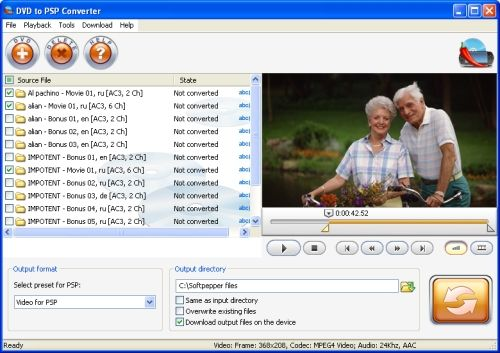 Capture d'écran SoftPepper DVD to PSP Video Suite