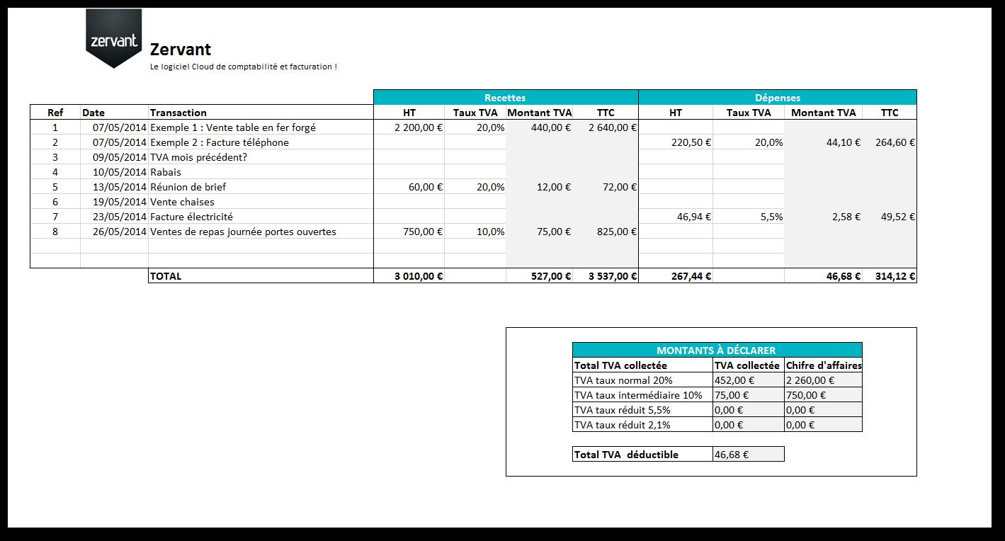 Capture d'écran Tableau de suivi de TVA