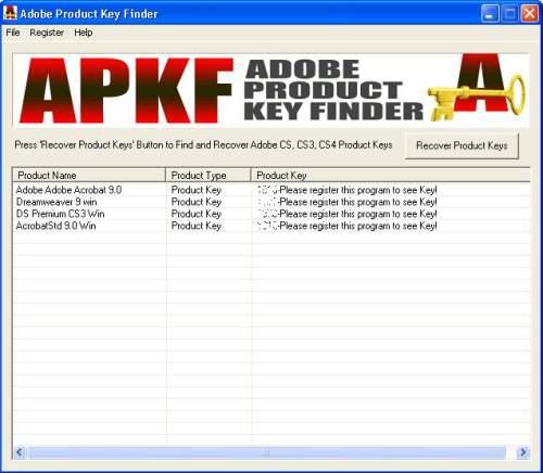 Capture d'écran APKF Adobe Product Key Finder