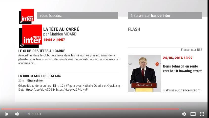 Capture d'écran France Inter en vidéo