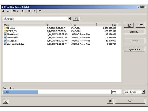 Capture d'écran Free Disc Burner