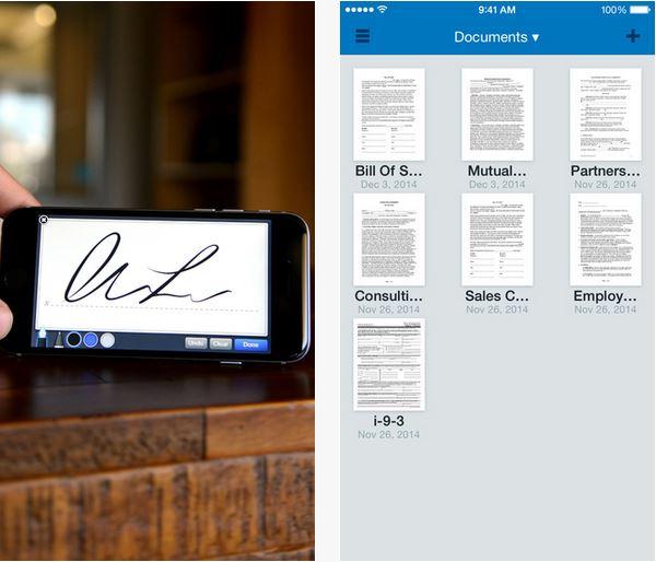 Capture d'écran SignNow iOS