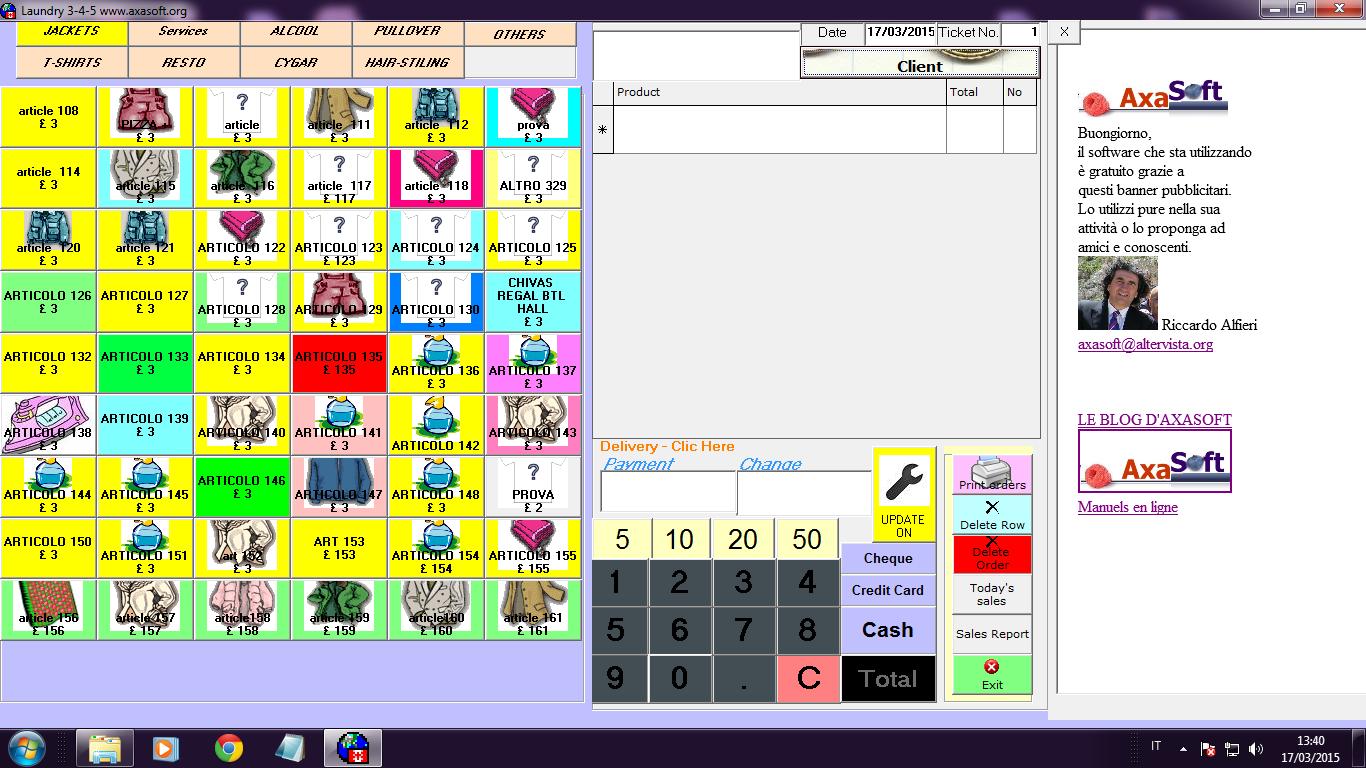 Capture d'écran Laundry 3-4-5 Logiciel de Gestion de Blanchisserie