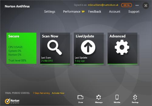 Capture d'écran Norton Antivirus Beta