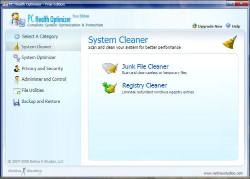 Capture d'écran PC Health Optimizer Free Edition