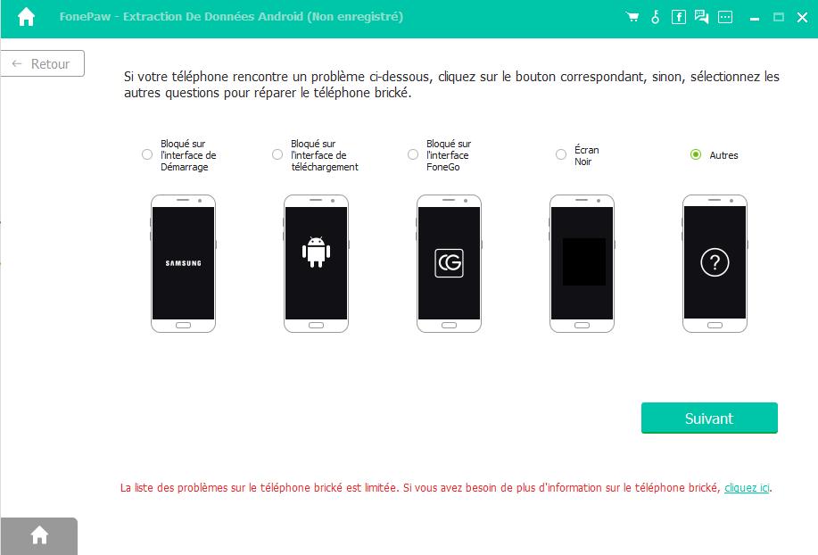 Capture d'écran FonePaw Récupération de données Android