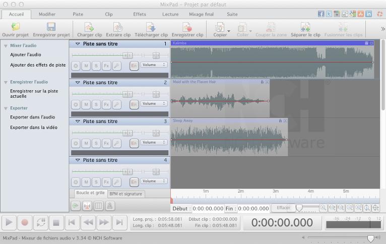 Capture d'écran MixPad – Logiciel de mixage audio pour Mac