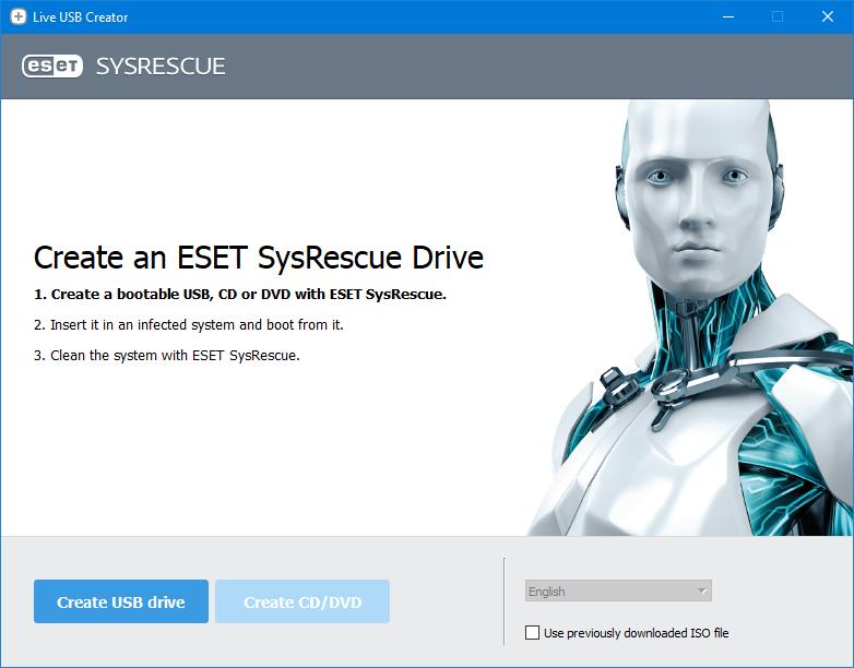 Capture d'écran ESET SysRescue Live